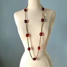 Vintage 70s 80s Richard Serbin Lucite Beads With Gold Tone Chain Necklace Tags!
