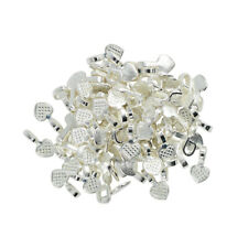 100pcs Heart Glue On Bails Silver White Plated 16x8mm DIY Connector Pendant