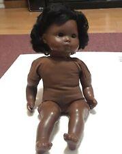"Gotz Puppe vintage doll. Dark skin African American 16"" plastic doll. eyes close"