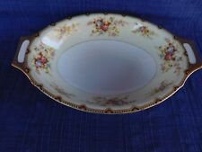 Meito NSP OVAL SERVING BOWL have more items Red & Gold Trim, Pink & Blue Flowers