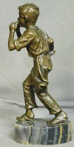 Antique Vienna Bronze Onyx Figure Statue Cobbler Boy Plays Harmonica Sculpture