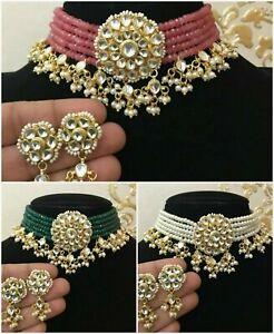 Indian Kundan Pakistani Pearl Necklace Choker Earrings Set Bollywood Jewelry