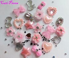 "24pc x 3D Nail Art ""Silver & Pale Pink Jewel"" Flowers,Bow,Heart,Rhinestone Alloy"