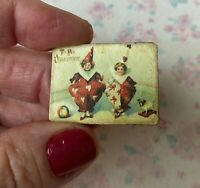 Miniature Dollhouse Vintage Valentine SIGN red white Pierrot clown 1:12 FRENCH