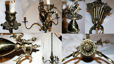 Lampadario 3 luci vintage ottone bronzo primi 900 Art Nouveau Retro Barocco