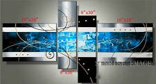 P155 Hand painted Modern Set Blue Abstract Oil Painting on canvas Art /NO frame
