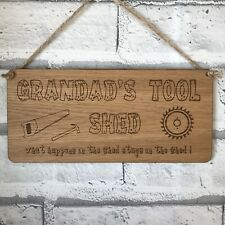 Personalised Engraved Grandads Tool Shed Novelty Wood Hanging Plaque Sign Gift