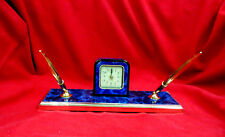 DESK CLOCK PEN SET w/2 lines engrvd Promotion Graduation Great Gift FASTship blu
