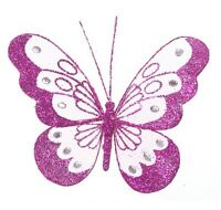 18cm Decorative Glitter Jewelled Clip-on Butterfly Butterflies Large Wedding