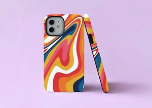 Retro Ripple Groovy 70s Swirls 2 in 1 Hybrid Tough Phone Case/Cover For iPhone