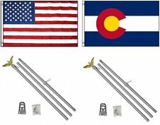 3x5 Usa American & State of Colorado Flag & 2 Aluminum Pole Kit Sets 3'x5'