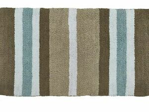 Cotton Bath Rug  20 X 36 inch Tufted Brown Stripes Large Spa Toilet Mat Set of 2