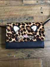 Kate Spade Run Wild Leopard Cat Summer Leather Crossbody Bag Wallet Purse