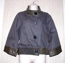 Mike & Chris Cotton Leather Trim Cropped Coat Green Gray Women Jacket Size: L