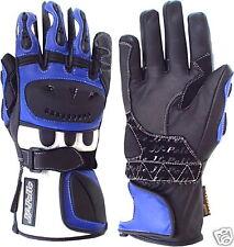 Guanti  Moto  Pelle 3187 Nero-Blue-Bianco
