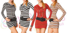 Womens Lovely Mini Dress Cowl Neck Sailor Style Ladies Tunic Xenia One Size 4037