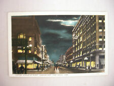 VINTAGE POSTCARD TOWN VIEW ON CENTRAL AVE AT NIGHT IN FORT DODGE IOWA UNUSED