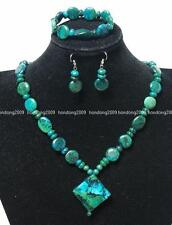 """New Azurite Chrysocolla Beads Necklace& Earring SET 18"""""""
