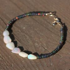 Natural Welo and Black Opal Bracelet Solid 14K Gold 12th 14th 34th Anniversary