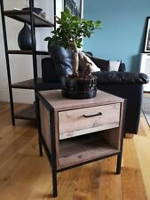 Industrial Bedside Lamp Table End Unit / Wood & Metal Side Cabinet Retro Vintage