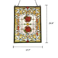"24.4"" x 17.7"" Floral Delight Roses Tiffany Style Stained Glass Window Panel"