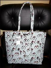 Vera Bradley Playful Penguins Gray Essential Tote Bag With Extras