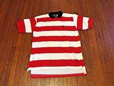 Men's VTG 90's Nautica Red White Navy Striped Polo Shirt sz L