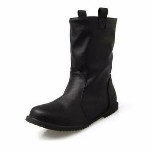 Women's Fashion Shoes Round Toe Mid-Calf High Booties Pull On Boots Casual Shoes