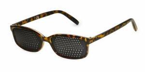 Rasterbrille Lochbrille Sehhilfe Sehtraining 415-IM, braun marmorierter Rahmen