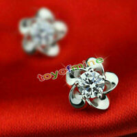 Crystal 925 Sterling Silver Filled Flower Dangle Pendant Earrings Earring Stud
