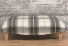 Extra Large Footstool Balmoral Charcoal Tartan Fabric with solid light wood legs