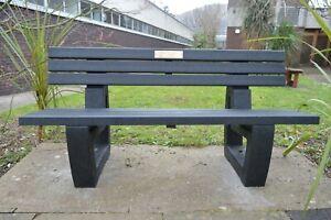 MEMORIAL BENCH 100% RECYCLED PLASTIC BENCH 1600 MM W, GARDEN BENCH, PARK BENCH.