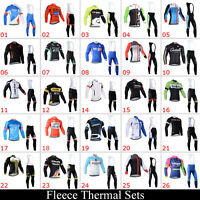 Winter Outdoor Sports Bike Mens Cycling Thermal Jerseys Bib Pants Outfits Fleece