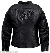 Harley Davidson Women's Crystal Embellished Black Leather Jacket 98199-11VW L