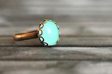 Little mint green ring, handmade ring, statement ring, antique brass bronze ring