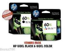 GENUINE HP 60XL BLACK & HP 60XL TRI COLOR ORIGINAL INK CARTRIDGE COMBO PACK