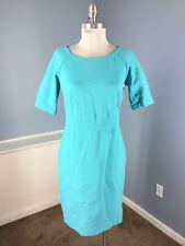 Talbots S 6 Aqua Turquoise Blue Dress Ponte Knit A Sheath Short Slv Career EUC