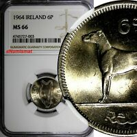 Ireland Republic Copper-Nickel 1964 6 Pence NGC MS66 TOP GRADED BY NGC  KM# 13a