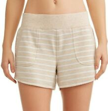 Athletic Works Women's French Terry Gym Shorts Size Small (4-6) Oatmeal Stripe