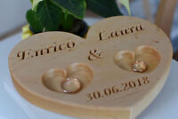 Personalized Wood Wedding Ring Bearer Pillow, Rustic Wedding Ring Holder