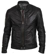 New Men's Bomber Biker Vintage Black Genuine Leather Slim fit Jacket XS-3XL