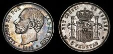 1883 MS-M Spain 5 Pesetas KM# 688 ALFONSO XII & Crowned Arms Pillars Silver Coin