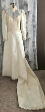 VTG 1950s 60s Satin Lace Beaded Sequin Wedding Bridal Gown Train Ivory Small