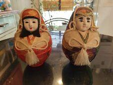 Pair Of Antique Silk & Porcelain Kimono Dolls