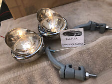 PAIR 6 VOLT SMALL VINTAGE STYLE FOG LIGHTS / VISORS AND GRAY BRACKETS !
