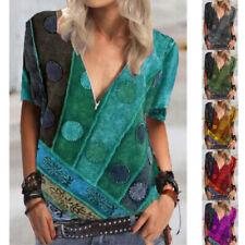 Summer Women Casual Short Sleeve V Neck T Shirt Zipper Floral Tops Loose Blouse