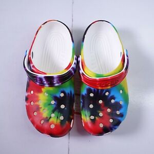 Size 4Y Youth / 6 Women's Crocs Classic Tie Dye Graphic Clogs 205491-90H