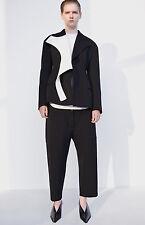 CÉLINE Celine Phoebe Philo Black & White Wool Cotton Peplum TOP F 38 S Small2016