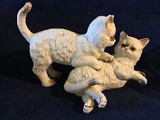 "Vintage Loving Cats White Figurine Ceramic Cute 5 1/2"" Tall,9 1/2"" Long"