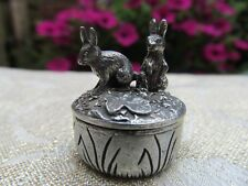 Lovely Rabbit/Bunnies/Hare Woodsetton Pewter Ring Box Signed P.Rice Retired Rare
